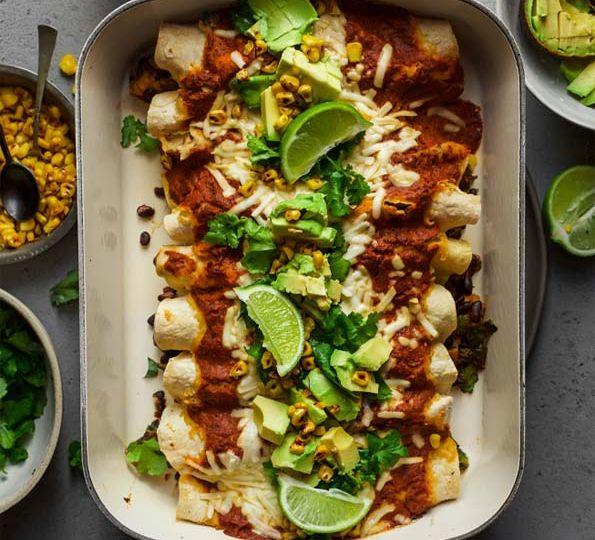 Zucchini Kale And Black Bean Enchiladas